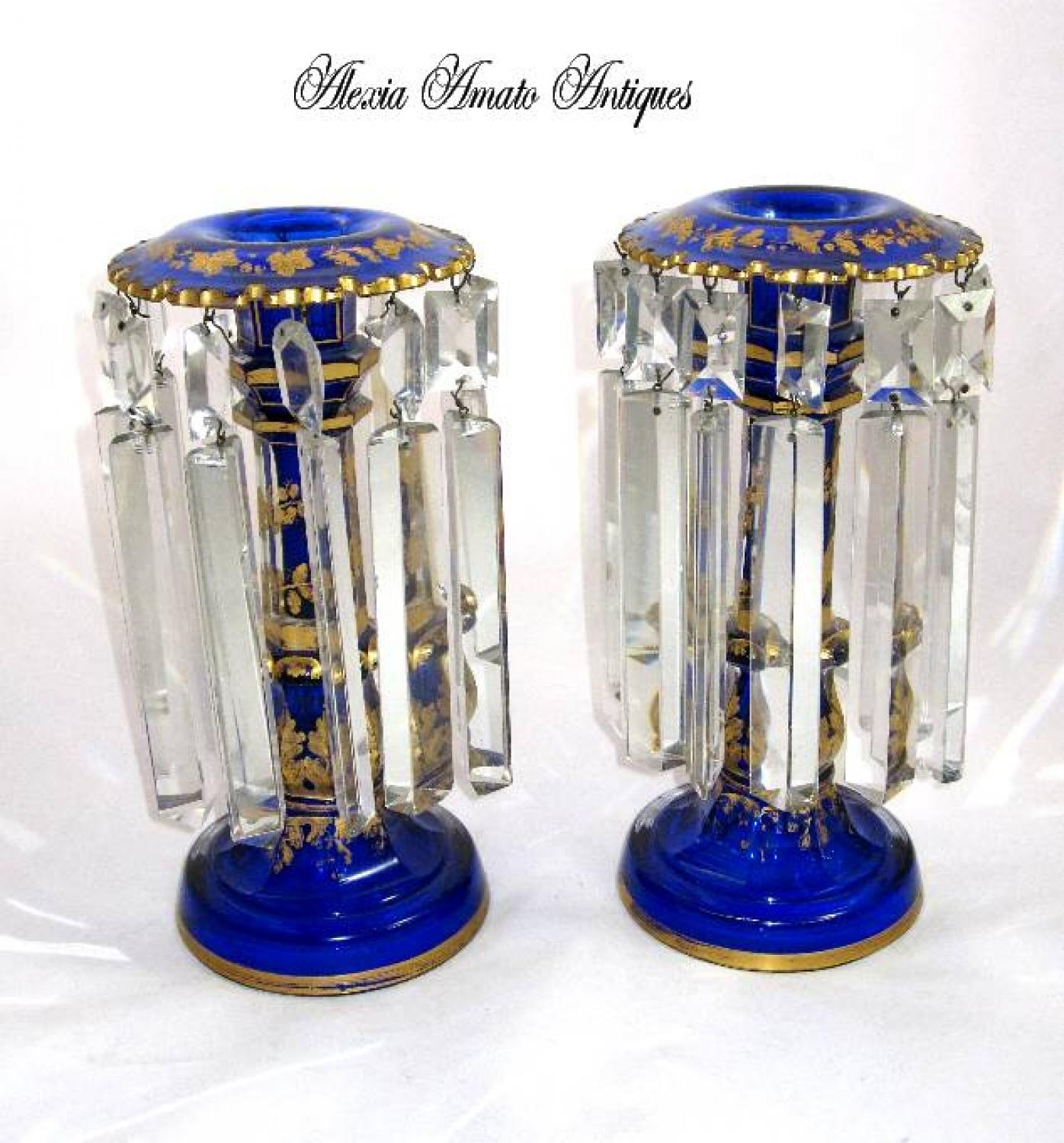 Pair of Blue Antique Bohemian Glass Lustres
