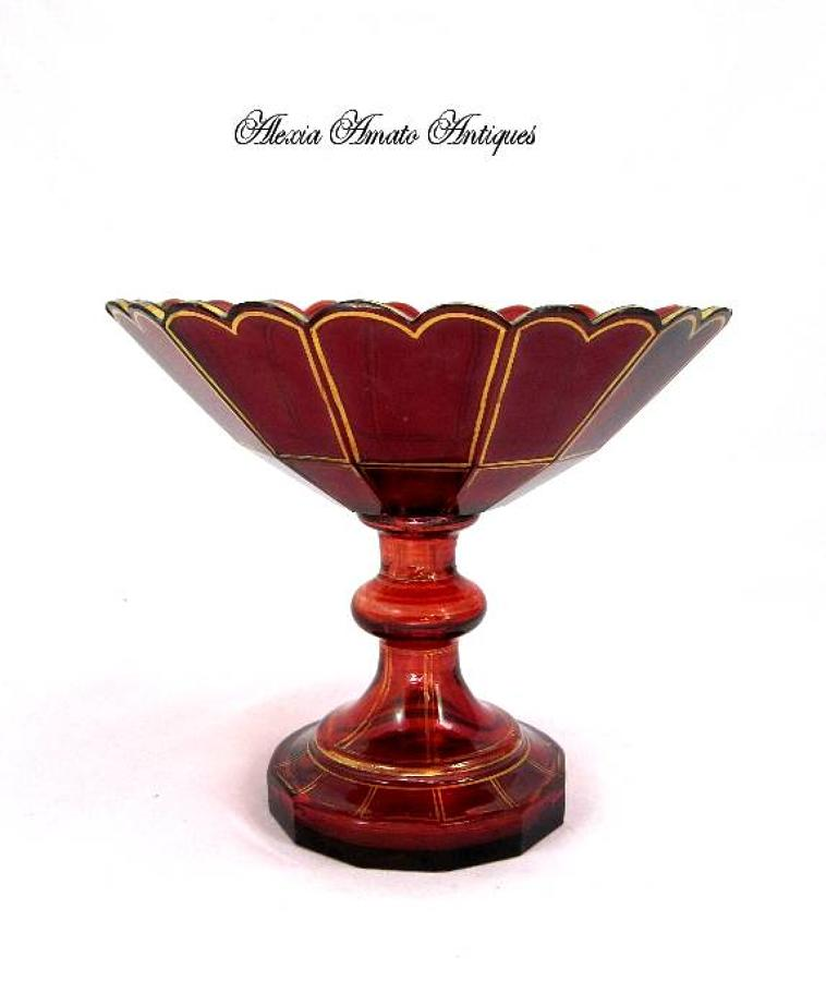 Antique Bohemian Ruby Red Glass Bowl