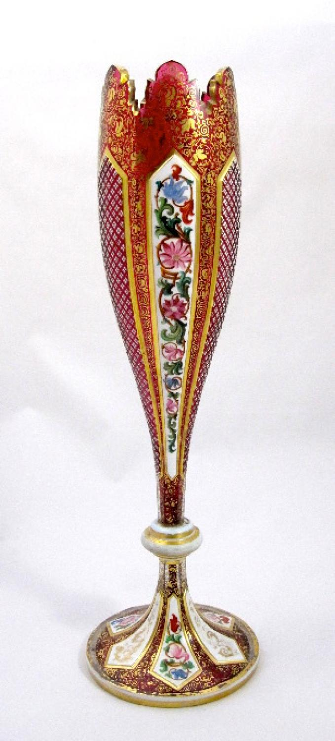 Tall Antique Bohemian Overlay Glass Vase