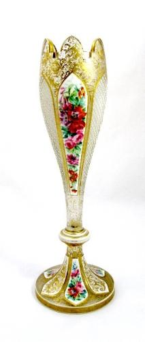 Tall Bohemian Glass White Overlay Vase