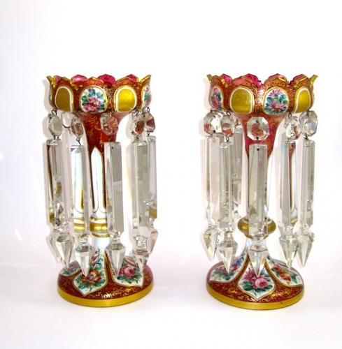 Pair of Bohemian Overlay Glass Lustres c.1860