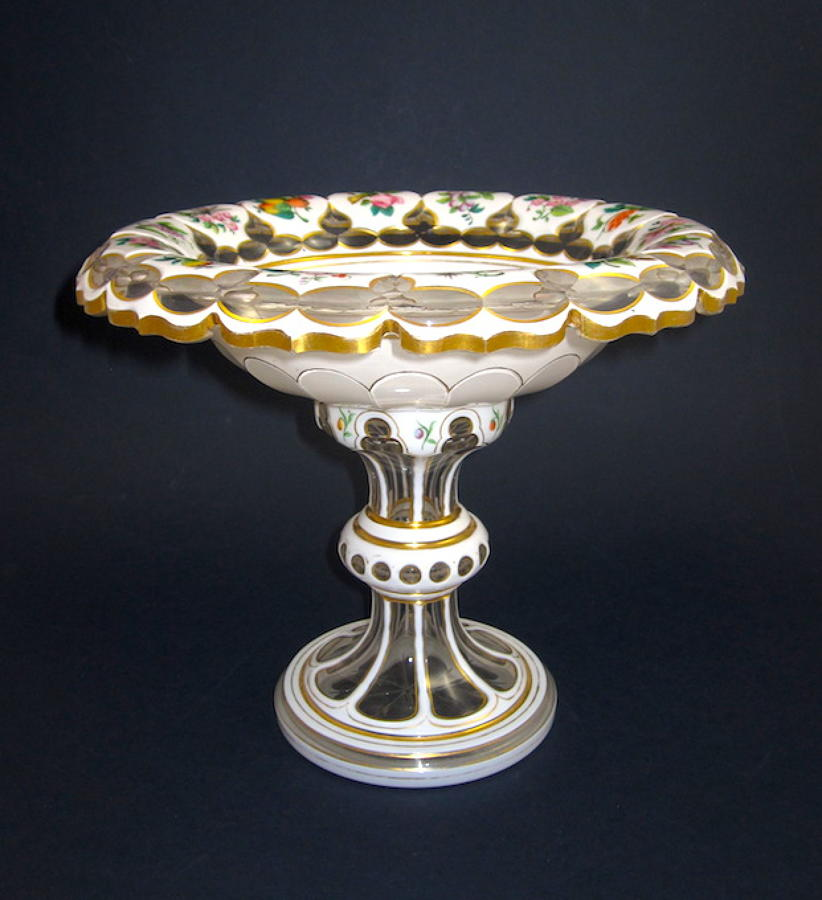 Antique Bohemian Glass White Overlay Tazza