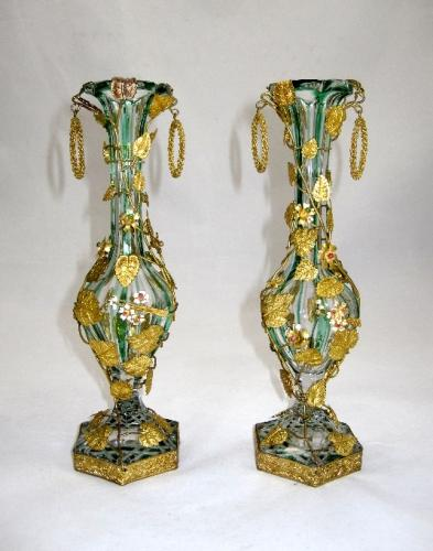 Pair of High Quality French 'Jewelled' Vases