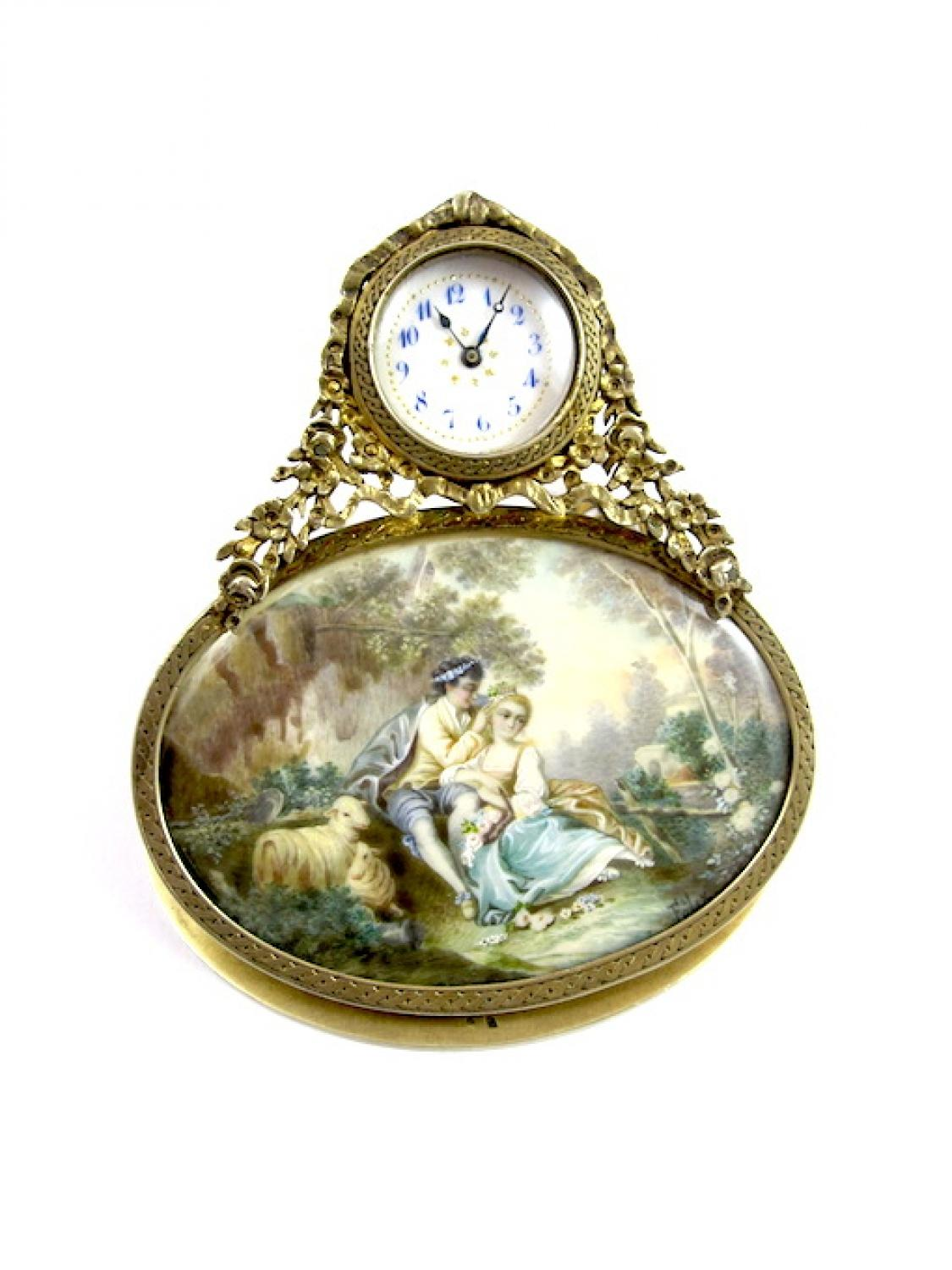 Charming French Silver Gilt & Ivory Clock