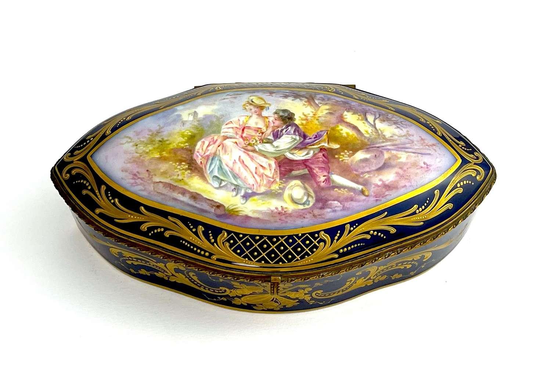 A Large Antique Sevres`Blu Roi`Porcelain Hinged Casket