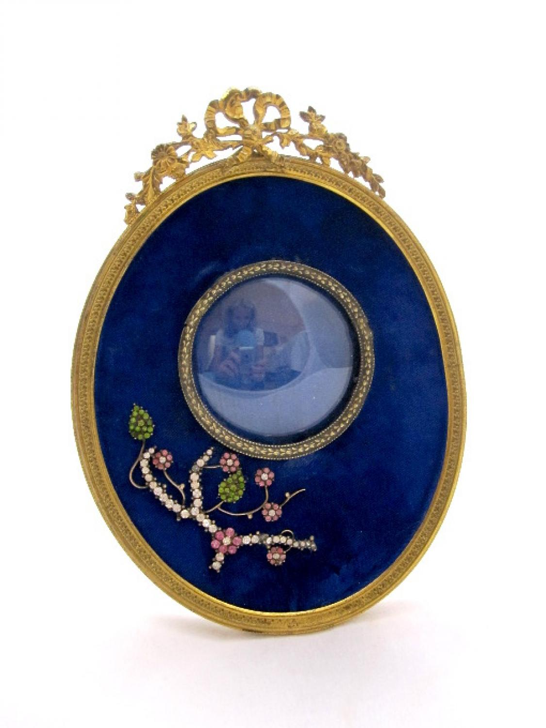 Antique French Blue Velvet Frame