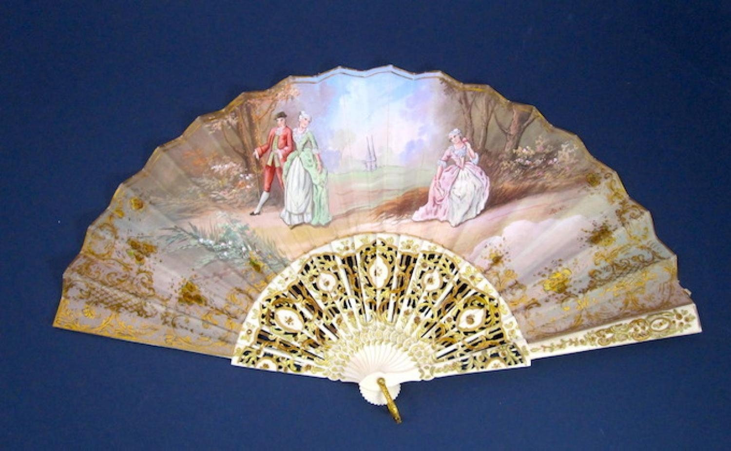 Antique Signed French Hand Painted Fan