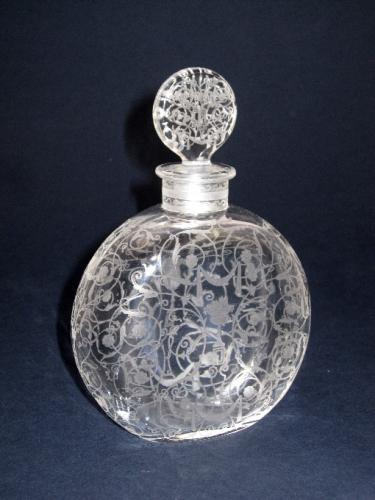 Signed Antique BACCARAT Engraved Scent Bottle