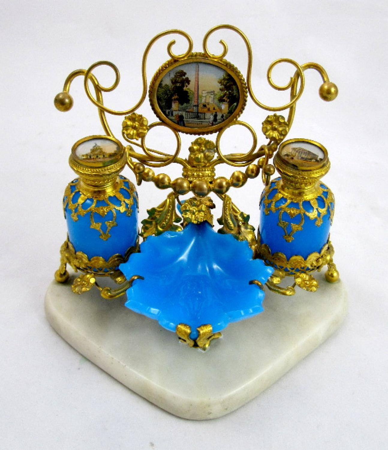 Palais Royal Blue Opaline Perfume Set