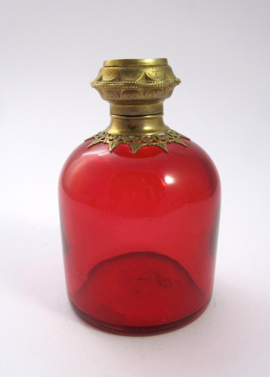 Palais Royal Red Glass Perfume Scent Bottle