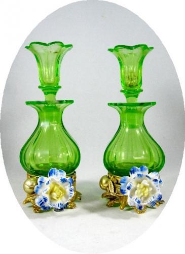Pair Palais Royal Uranium Glass Scent Bottles