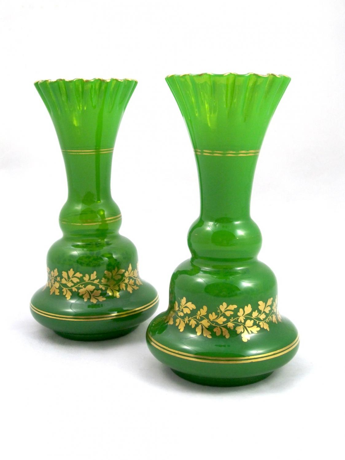 Antique Pair Green Opaline Glass Vases