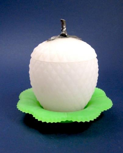 Antique French Opaline Glass 'Apple' Box