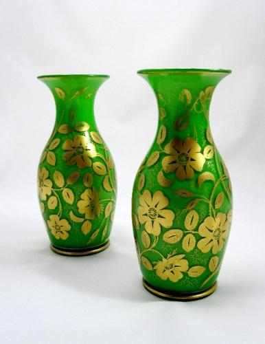 Antique Pair of French Opaline Glass Vases