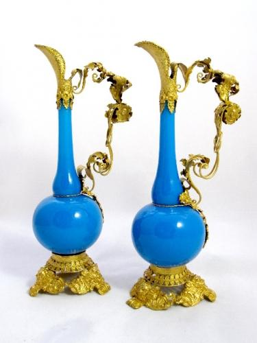 Pair of French Blue Opaline Glass Ewers