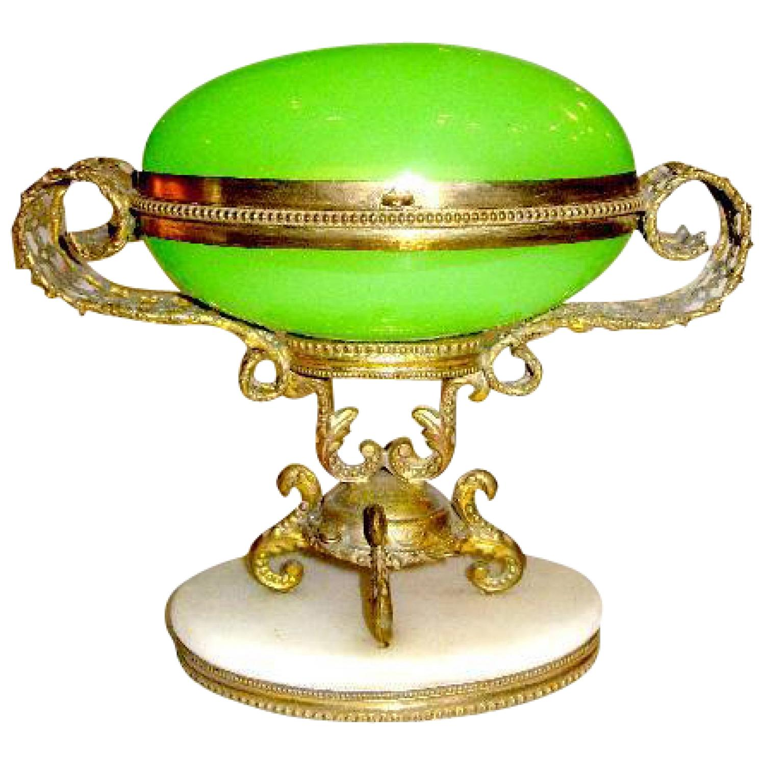Palais Royal Green Opaline Glass 'Egg' Casket