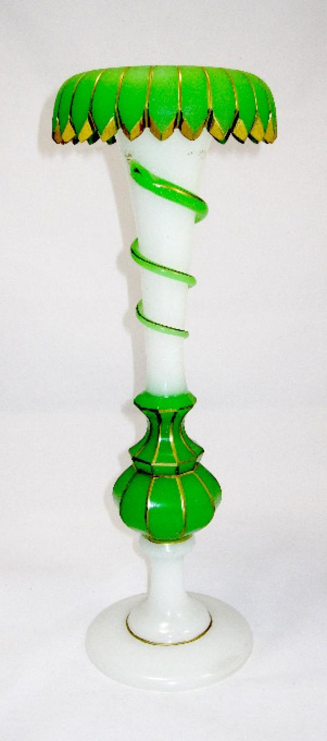 Tall Antique French Opaline Glass Vase