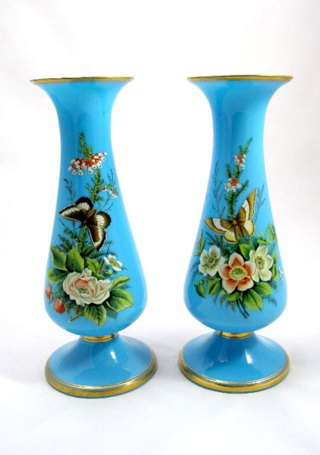 Pair Of Antique French Opaline Flower Vases In Sold French Opaline Glass