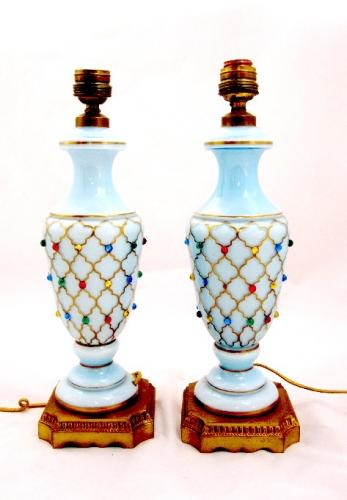 Pair of French Opaline Glass 'Jewelled' Lamps