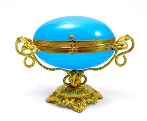 Antique French Opaline Glass 'Egg' Box