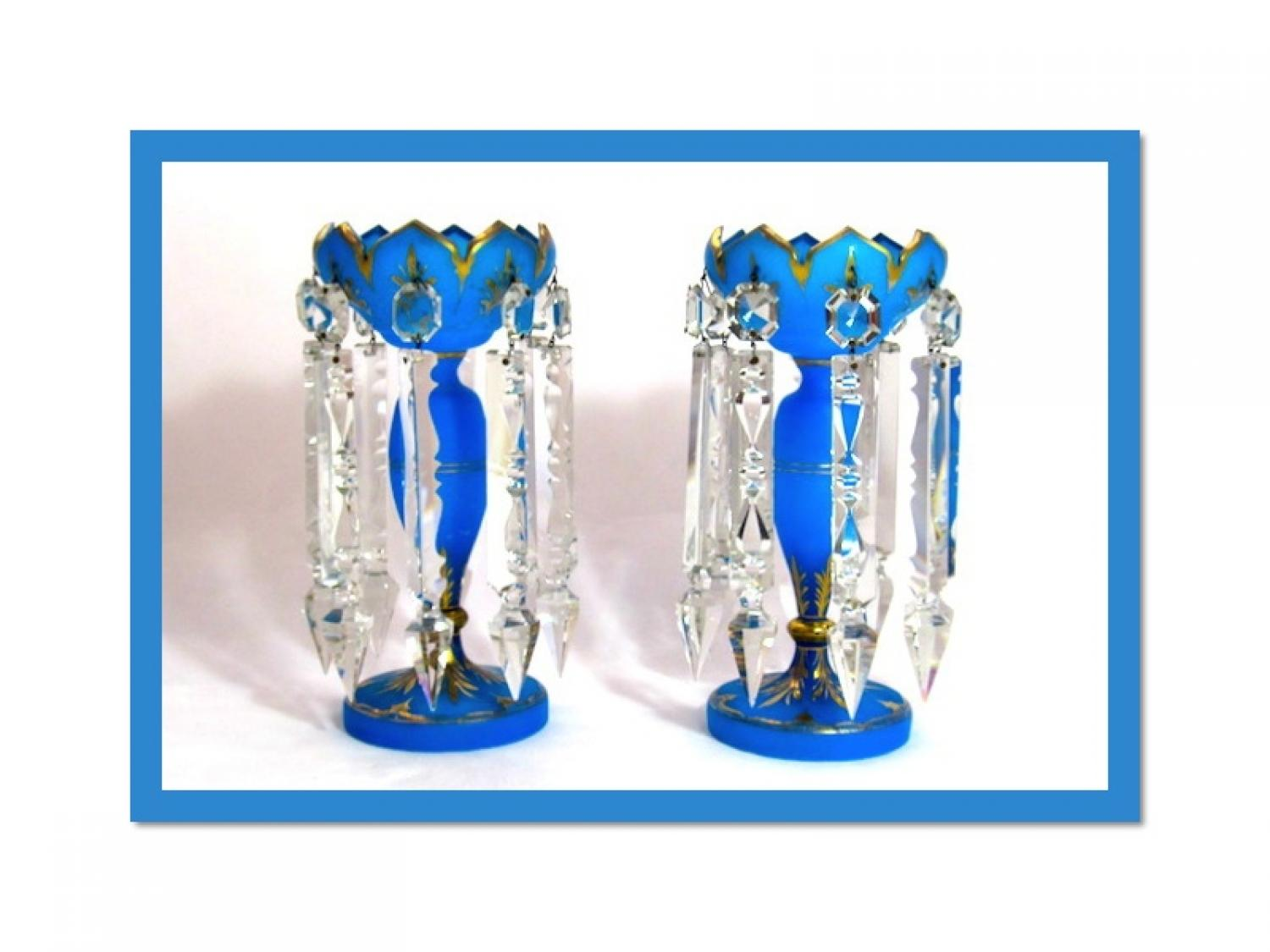 Pair of Antique French Opaline Glass Lustres