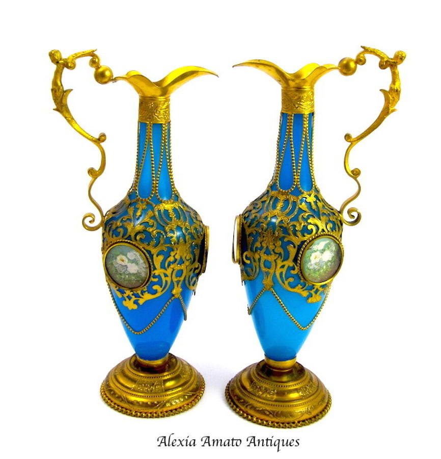 Pair of Antique French Opaline Glass Vases