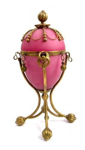 Giant Antique French Opaline Glass 'Egg' Box