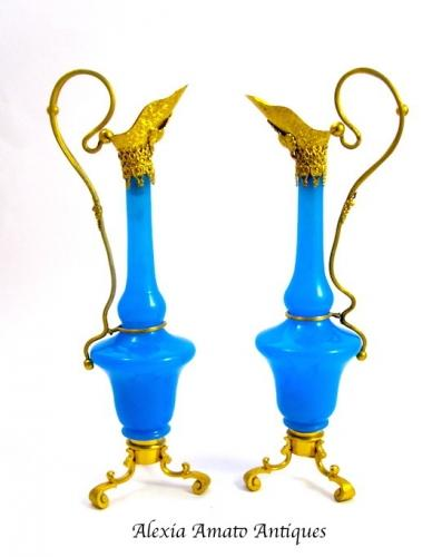 Pair of Antique Blue Opaline Glass Vases