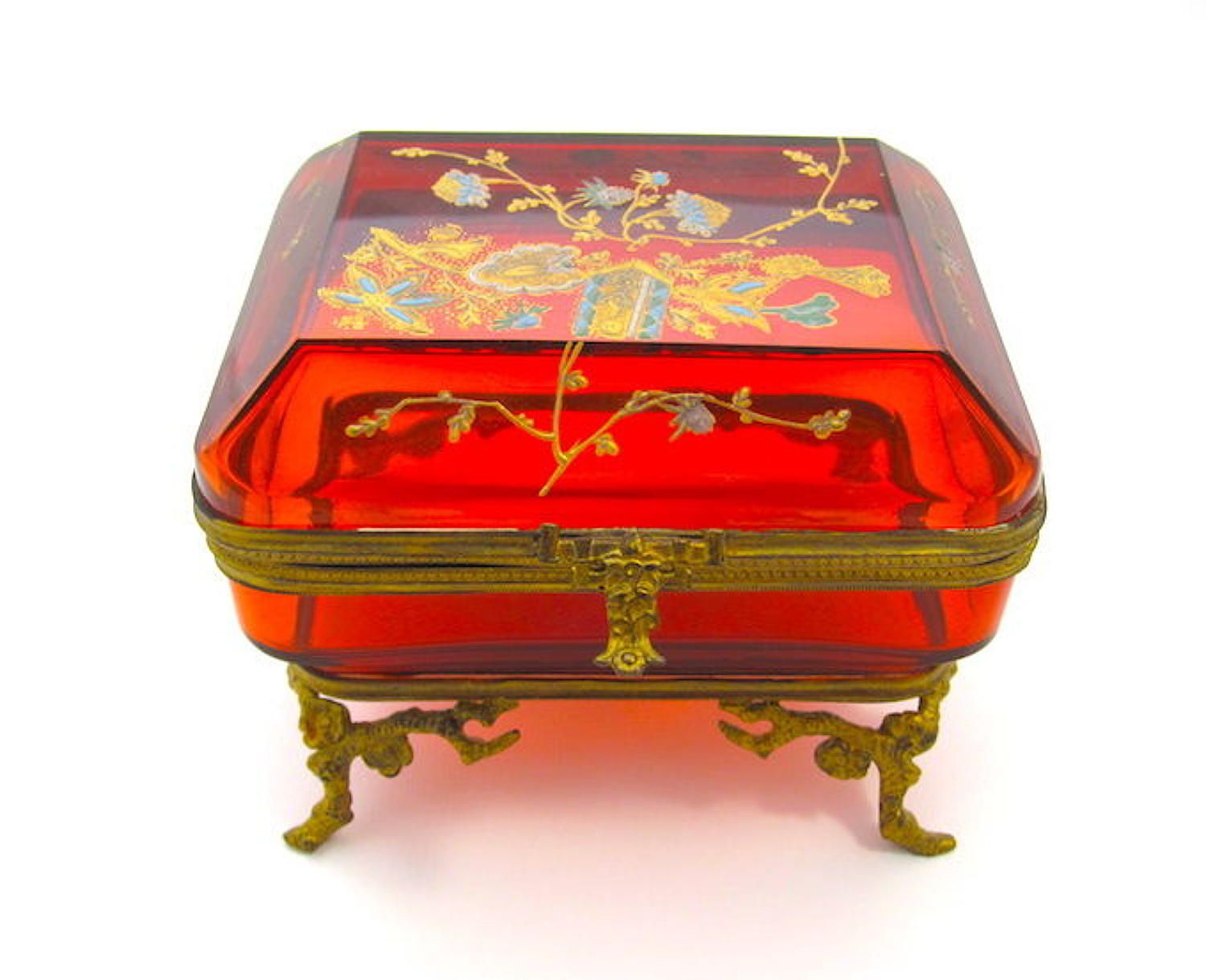 Unusual Antique BACCARAT Ruby Red Glass Casket