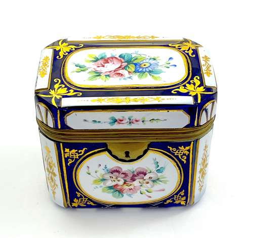 Antique Bohemian Blue Overlay Glass Casket