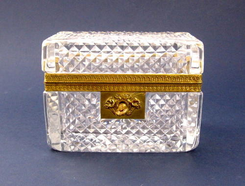 Antique French Cut Crystal Glass casket