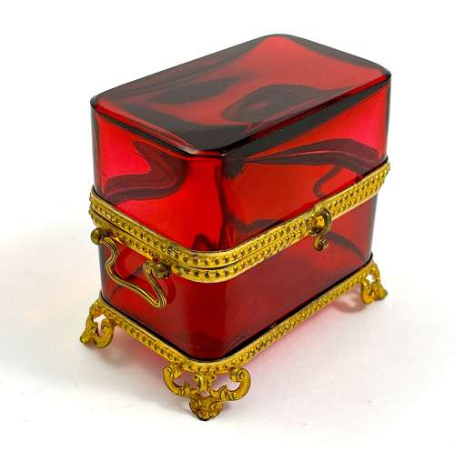 Antique French Red Crystal Casket