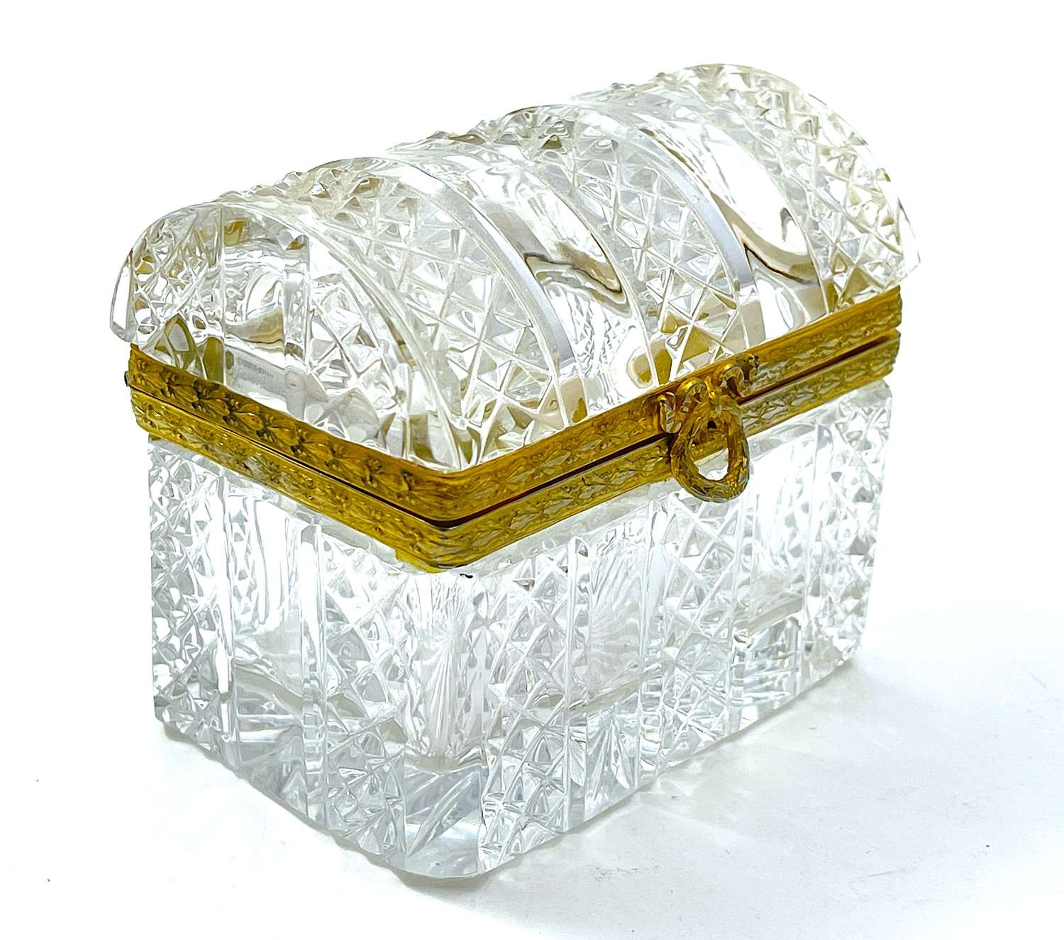Antique Baccarat Cut Crystal Jewellery Casket Box with Dome Lid