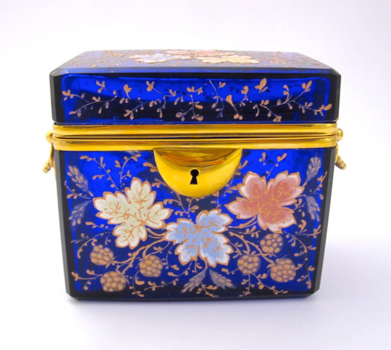 Antique Moser Blue Glass Enamelled Casket