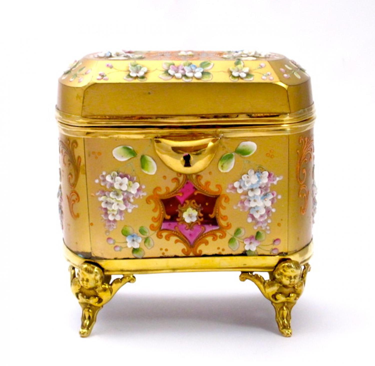 Antique Moser Cranberry & Gold Glass Casket