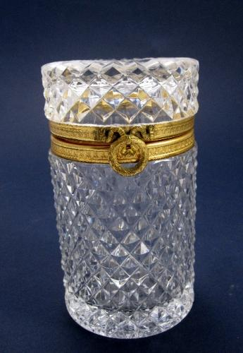 Antique Tall Cylindrical Cut Crystal Box