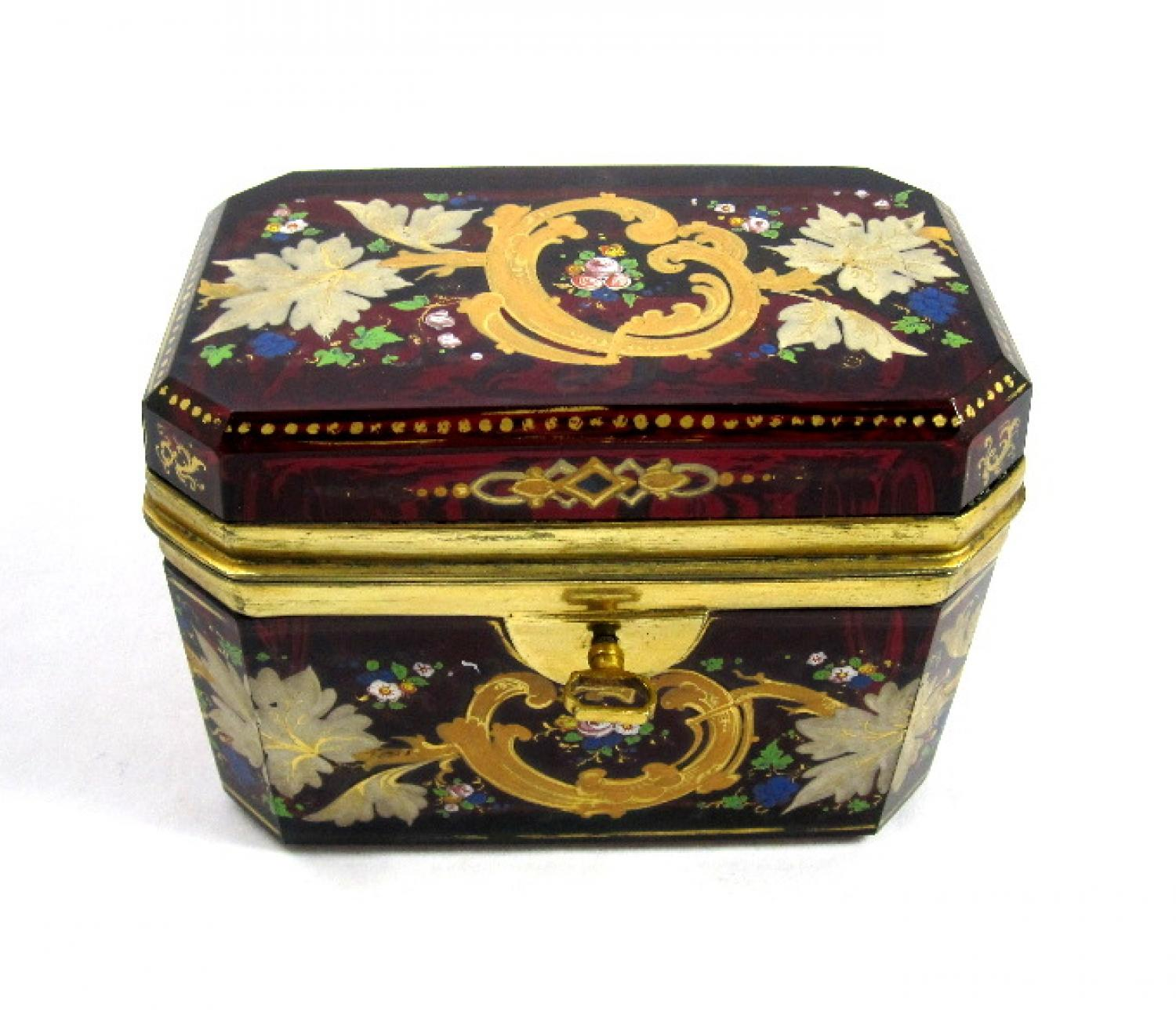 Antique Bohemian Moser Red Glass Casket