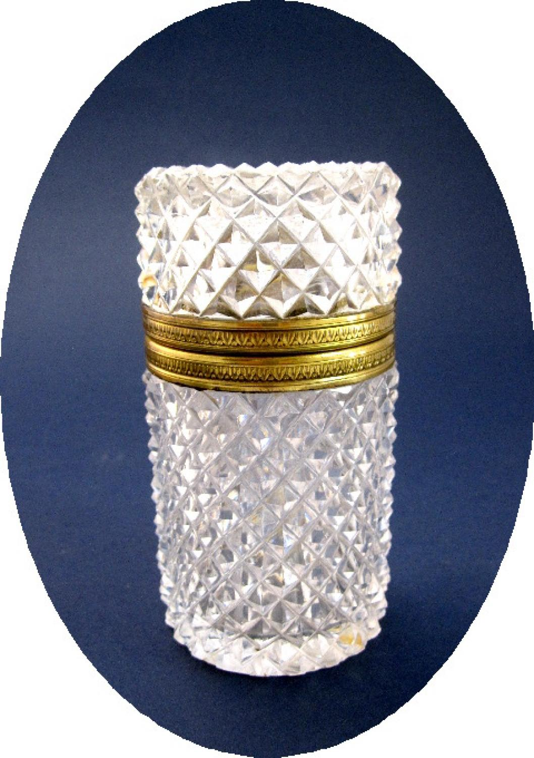 Antique French Diamond Cut Crystal Box