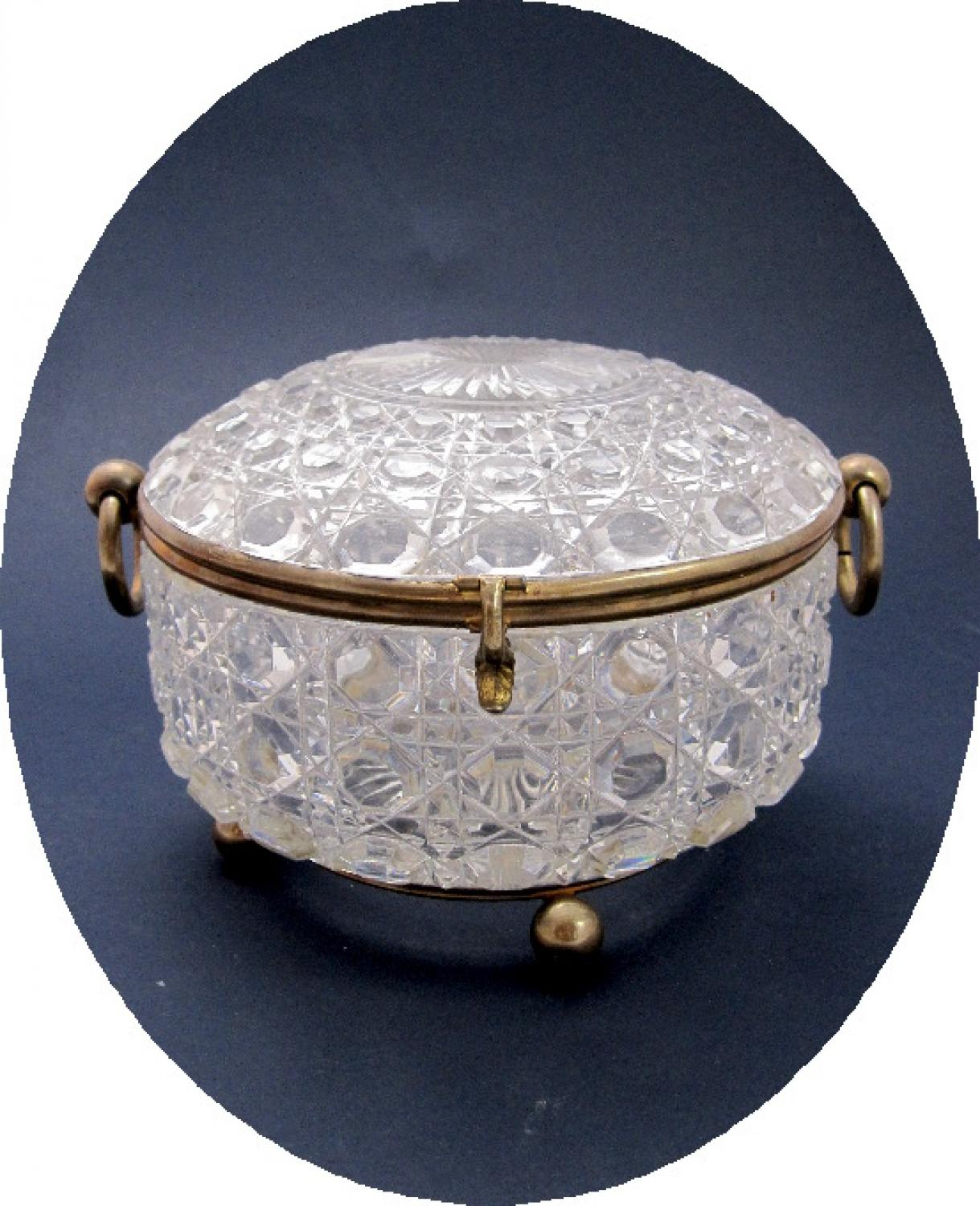 Antique Round French Crystal Glass Casket