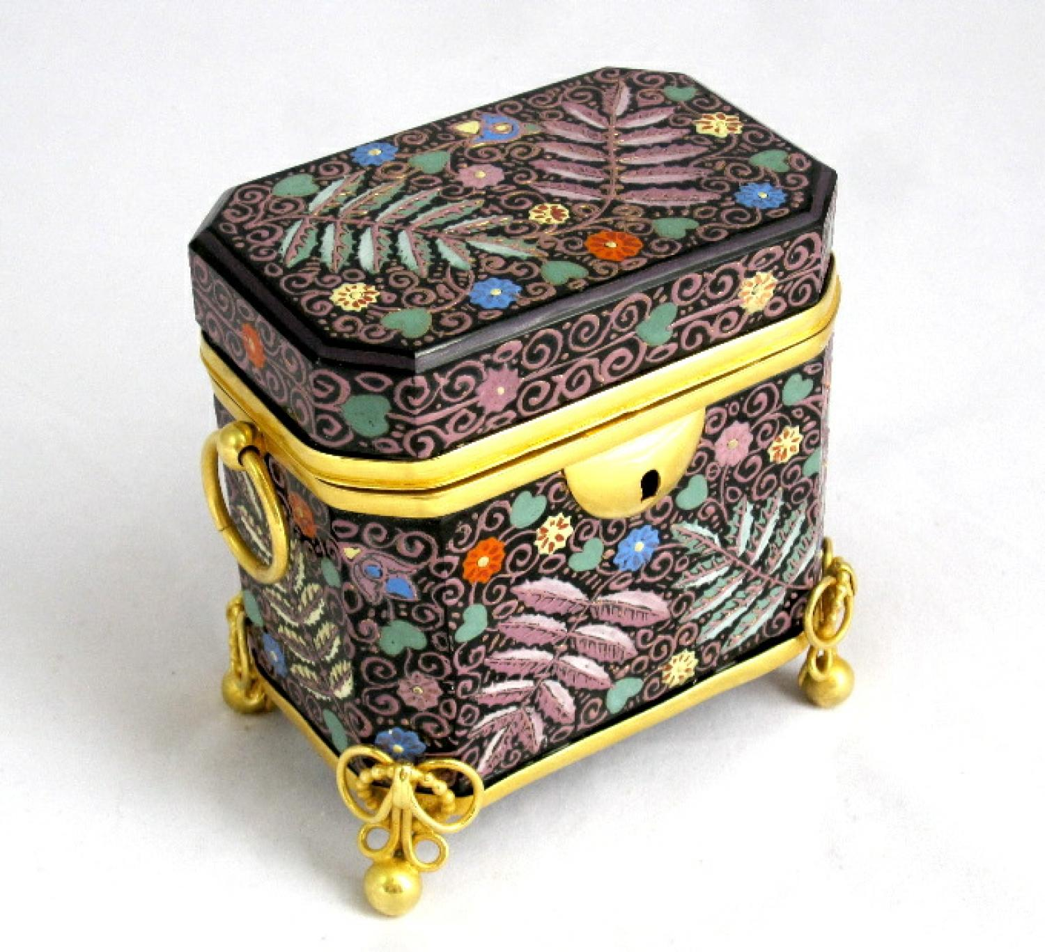 Unusual Bohemian Black Opaline Glass Casket