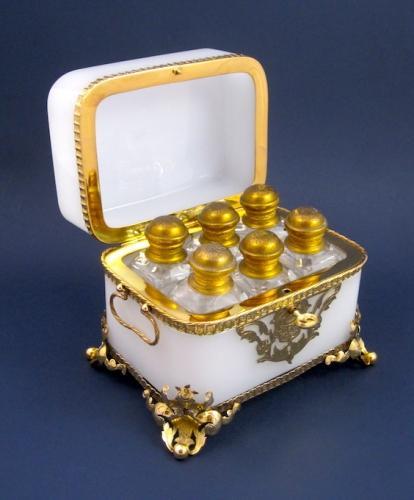 Antique Baccarat Opaline 6 Perfume  Casket