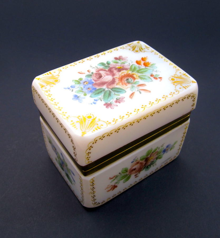 Antique Baccarat Opaline Glass Signed Casket