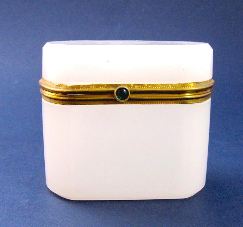 Antique Miniature White Opaline Glass Box