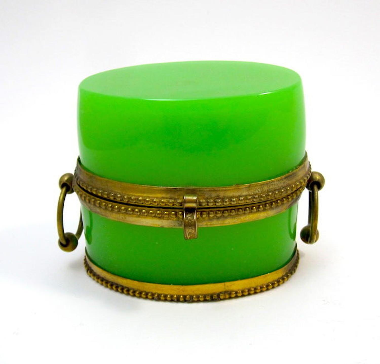 Antique Oval Green Opaline Glass Casket
