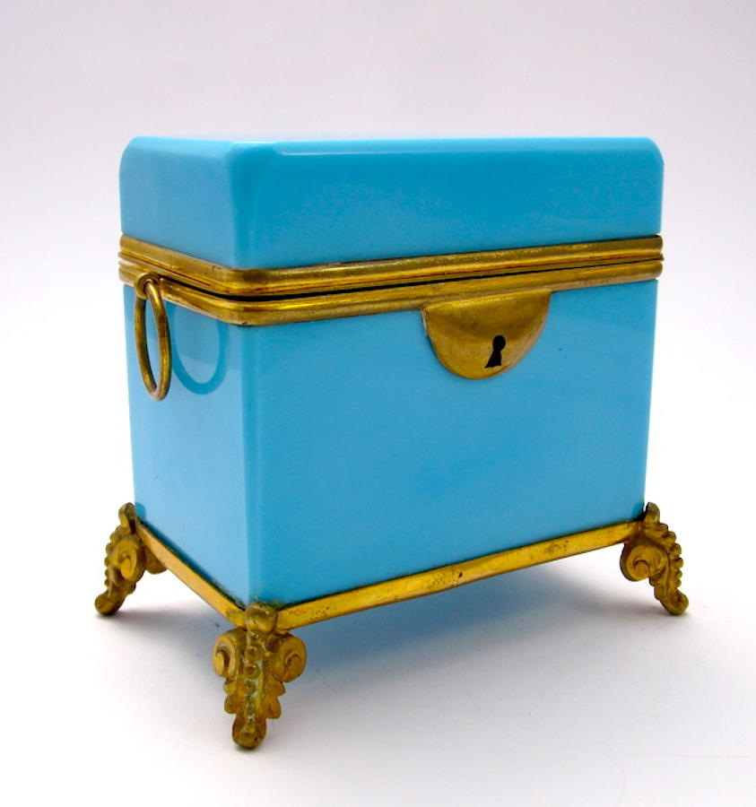 Antique French Opaline Casket Loop Handles