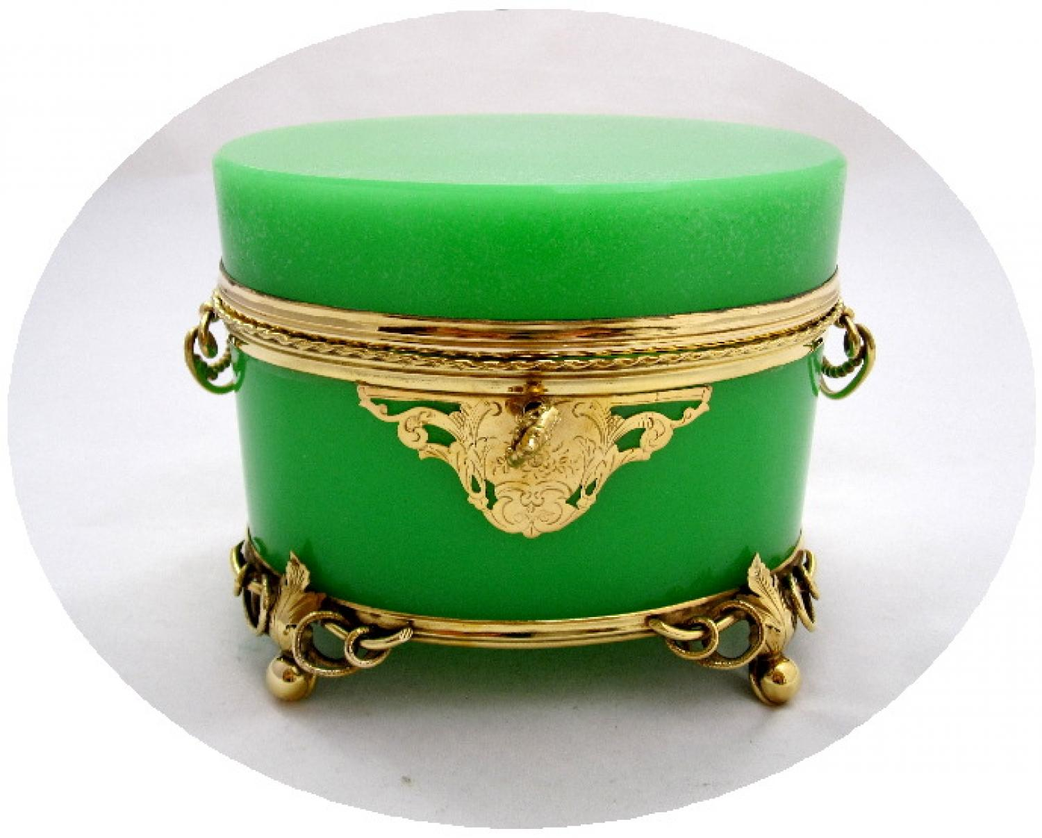 Large Antique Green Opaline Glass Casket