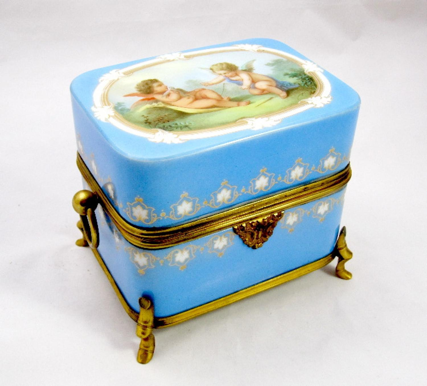 Large Antique Opaline Glass 'Cherub' Casket