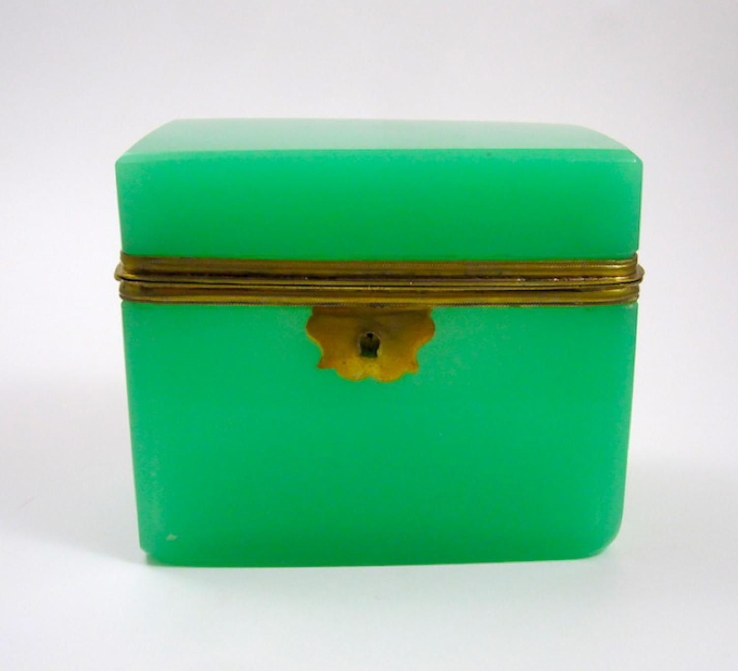 Antique French Green Glass Opaline Casket.