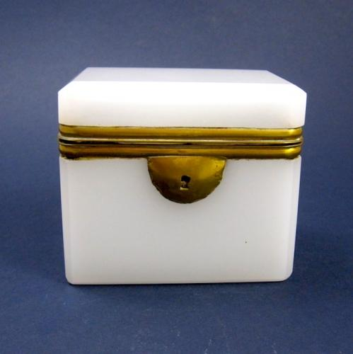 Small Antique French White Opaline Glass Box