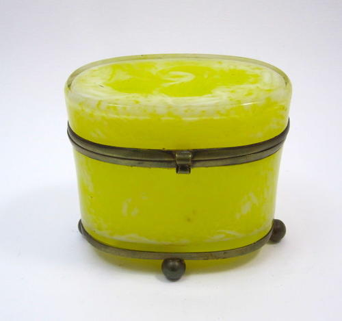 Rare Antique Yellow Opaline Casket